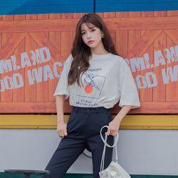 [로코식스] 오렌지 프린팅 박스 티셔츠