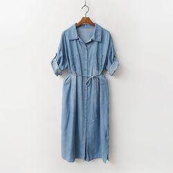 Denim Shirts Dress - 7부소매