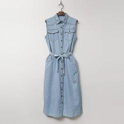 Denim Shirts Dress - 민소매