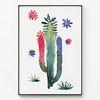 대형 메탈 식물 선인장 수채화 그림 액자 Colorful cactus