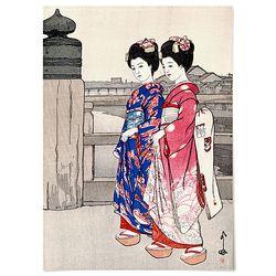중형 패브릭 포스터 일본 여자 기모노 그림 액자 요시다 히로시1