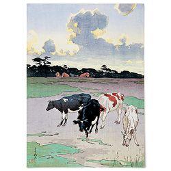 중형 패브릭 천 포스터 일본 시골 풍경 그림 요시다 히로시 7