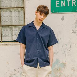 LAMC LEATHER PATCH SHORT SHIRT (NAVY)