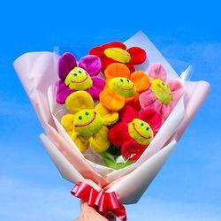 스마일 꽃 인형 꽃다발 30cm