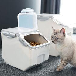 실용적인 모던 고양이 강아지 사료 보관함-중형