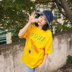 상큼해 레몬 써핑 라운드 오버핏 반팔 티셔츠n504