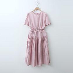 Cotton Pleats Long Dress  - 반팔