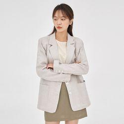 formal check linen jacket