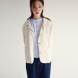 vintage neck crispy jacket (2colors)
