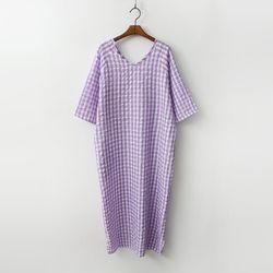 Gingham Boxy Long Dress