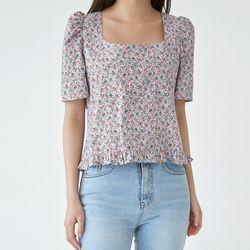 date flower puff blouse