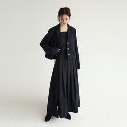 linen cropped clean jacket (2colors)