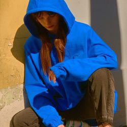 숄더 드롭 오버핏 후드 블루