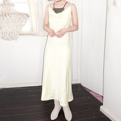 [dress] 실크 카울 넥 드레스