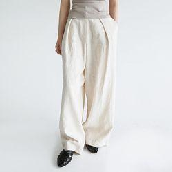 clean fit wide linen pants (ivory)