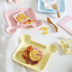 플레이팅 베어 접시 1개(색상랜덤)