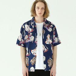 호러 오픈카라 셔츠-네이비