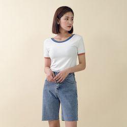 [로코식스] 배색컬러 라운드 티셔츠