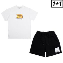 [1+1] DIVERSION SIGN SHORT SLEEVE+OFF LICENCE BANDING SHORT PANTS