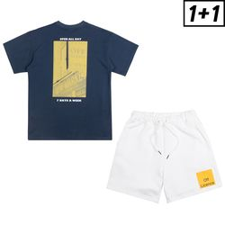 [1+1] LONDON SIGN SHORT SLEEVE + OFF LICENCE BANDING SHORT PANTS