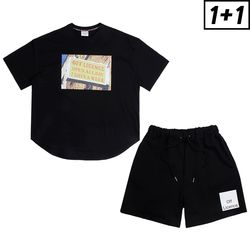 [1+1] BOOZE OVERFIT SHORT SLEEVE + OFF LICENCE BANDING SHORT PANTS