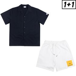 [1+1] LEATHER PATCH SHORT SHIRT + OFF LICENCE BANDING SHORT PANTS