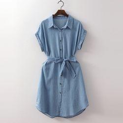 Denim Stripe Shirts Dress