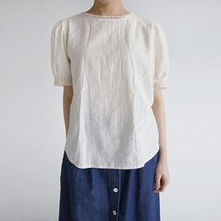 puff frill half blouse (2colors)