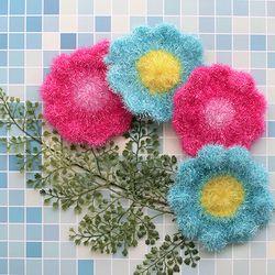 아기자기 꽃송이 아크릴 주방 수세미 1P 색상랜덤발송