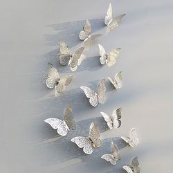3D 나비 입체포인트 스티커B-silver 12P