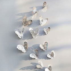 3D 나비 입체포인트 스티커A-Silver 12P