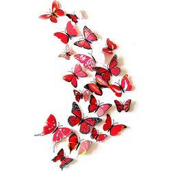 PVC 3D 나비 포인트 스티커 red 12P