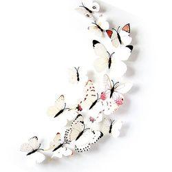 PVC 3D 나비 포인트 스티커 WHITE 12P