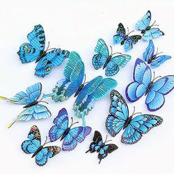 겹날개 3D 나비스티커 블루 12P
