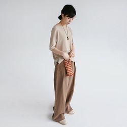 clean fit wide linen pants (beige)