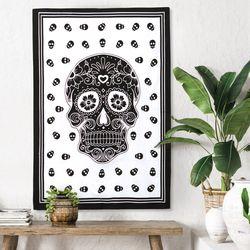스컬 화이트 - 태피스트리 패브릭포스터 포스터 76x117cm