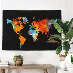 월드 맵 - 태피스트리 패브릭포스터 포스터  117x76cm