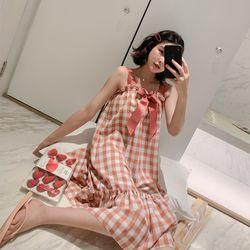 체크 핑크리본  원피스 잠옷