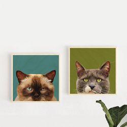 고양이 벽걸이 액자 배경O 20x20cm10종