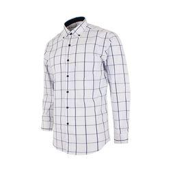심플 체크 화이트 레귤러 셔츠S1008
