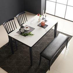 아르메 리얼스톤 세라믹 4인 식탁세트(의자2 벤치1)