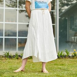 COTTON CREASE LONG SKIRT WHITE