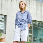 LINEN STRIPE BLOUSE BLUE