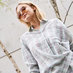 LINEN CHECK BLOUSE MINT
