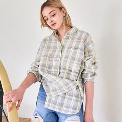 LINEN CHECK BLOUSE YELLOW