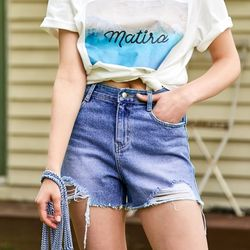 SHORT DENIM PANTS BLUE
