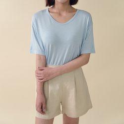 [로코식스] SET 라운드넥 베이직 레이온 티셔츠
