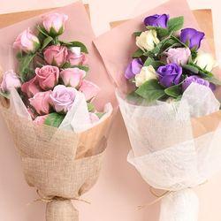 장미 15송이 비누꽃 꽃다발(2color)