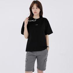 W루디아 3601-미니로고(블랙)오버핏 티셔츠