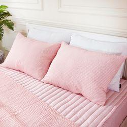 쿨링쿨링 시어서커 베개커버(40x60cm) 핑크 2장